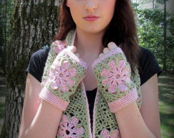 Pattern only -Frost Flower Cowl Set pattern crochet lace hat fingerless mitts crocheted