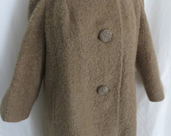 Vintage womens 60s boucle wool coat camel tan brown winter warm Berroco Curlinda by Babette for Pittsburgh union label made in USA size L XL