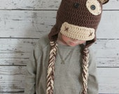 Brown Cow Hat, Crochet Cow Hat, Boy Cow Hat, newborn up to adult, Made to Order