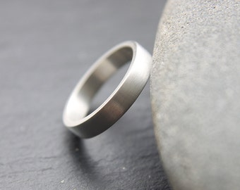 4mm wedding ring in tarnish resistant Argentium silver, flat profile, brushed finish, recycled silver ring for her or him - made to order