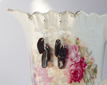 Sterling silver earrings with natural Baltic amber and opalite, cluster earrings, dark cognac natural amber