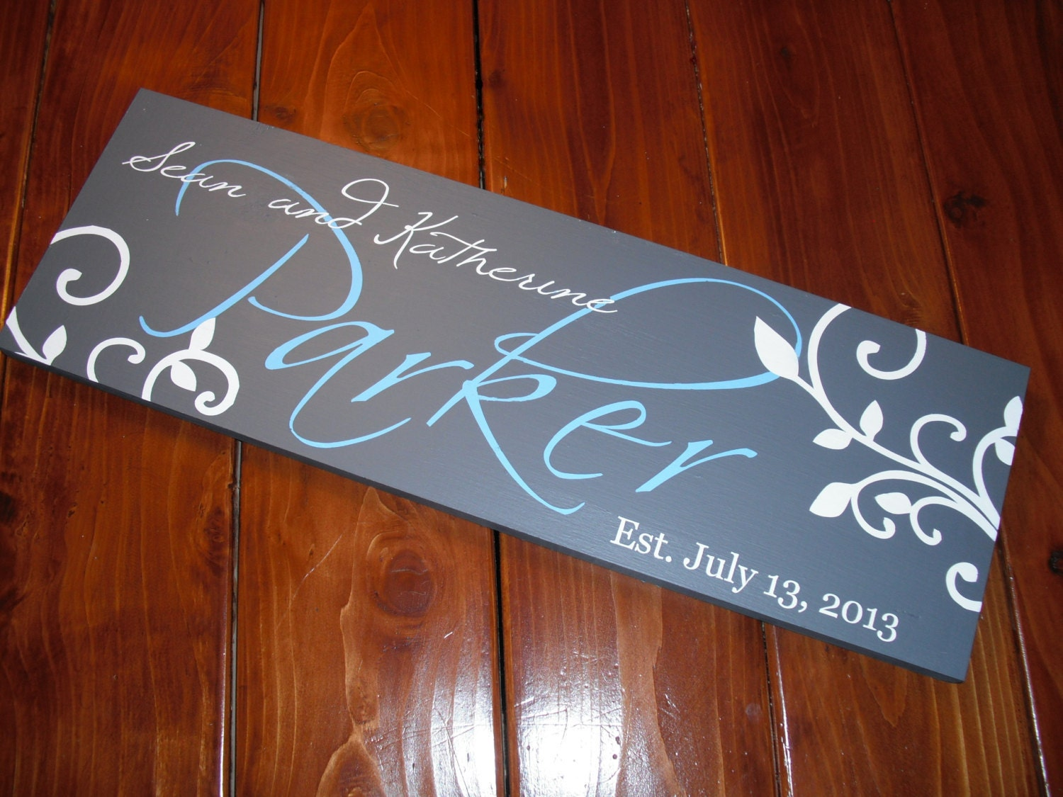 Personalized Family Wall Name Wood Sign Hand Painted