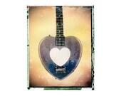 black heart guitar art, music wall decor, musicians gift, gift for guy, gift for boyfriend, hipster, dude, rock n roll art