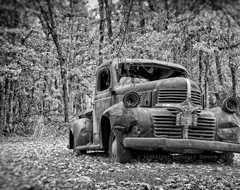Car Photography Old Dodge Truck Vintage Black and White 8x12