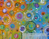 Abstract Painting Coral Orange Blue Circles Floral Bright Colorful Whimsical Art Canvas 20 x 20