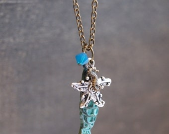 Ocean Charm Necklace Sea Charm Necklace Starfish Necklace Seahorse Charm Necklace Ocean Jewelry Sailor Sailing Jewelry Mixed Metal Necklace