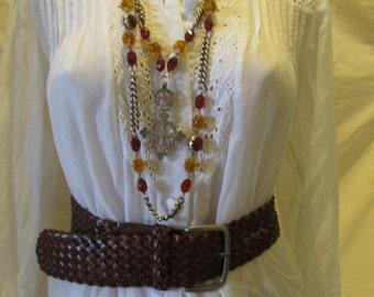 Braided Leather Belt  XL