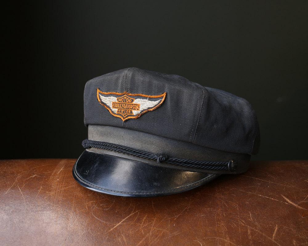 Vintage Harley Davidson Motorcycle Embossed Leather Cap ...  |Vintage Harley Davidson Hats