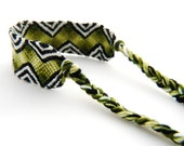 Ombre Green Zebra Handwoven Boho Tribal Friendship Bracelet - Great Green Handmade Gift for Best Friends and Teenagers