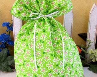 May Flowers fabric gift bag, Small.  Reusable gift bags.