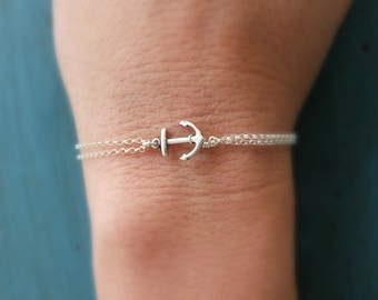 Silver Anchor Bracelet, Beach Wedding, Bridesmaid Bracelet, Bridesmaid Jewelry, gift for her,nautical jewelry, Navy Wife, Cruise theme