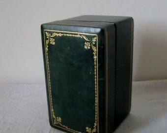 Vintage Leather Green Box Gold Trim Wood Interior Retro Green Leather Gold Embossed Trinket Gift Box Dresser Top Decor