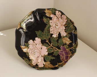 "Fitz and Floyd Gold Footed Cookie Plate — Black ""Cloisonné Peony"" MCMLXXIX (1979) Japan"