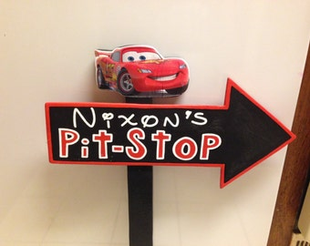 Wood Lightning McQueen Pitstop Sign - Cars Birthday Party Decorations - Cars Standee - All Black - Unique design