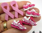 Jesse James Buttons 6 pc BREAST CANCER AWAReNESS Pink Ribbon Running for Hope Buttons OR Turn them Into Flatback Decoden Cabochons