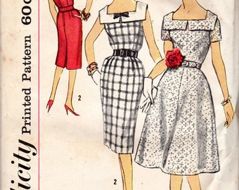 "1960s Women's Square Neckline Dress with Full or Slim Skirt Pattern - Size 14 1/2, Bust 35"" - Simplicity 3475 Half Size Slenderette"