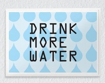 """Modern Wall Art """"Drink more water"""" / pastel blue, positive quote, healthy : high quality prints from original izzybizzy illustrations"""