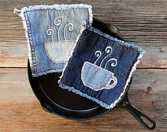 Hot Coffee Potholders - Blue Jeans Pot Holders - The Best Potholders Ever