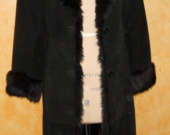 Vintage Black Suede Fake Fur Shawl Collar Boho Hip Hippie Fall Maxi Coat(S)