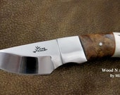 Mesquite Burl - Antler Knife with Mosaic Pins – One Of A Kind!