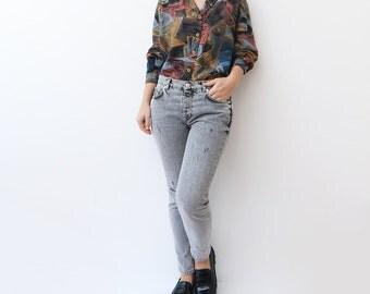 Vintage abstract 90s long sleeve shirt / women painting print art