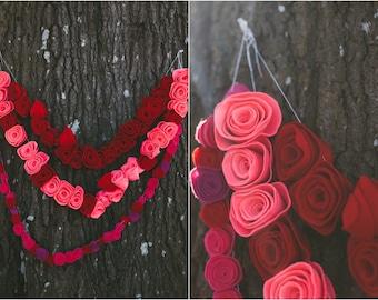 Berry Rose Felt Garland Combo / Felt Flower Garland / Spring Flower Garland / Flower Banner / Floral Party Decor / Wedding Backdrop Decor