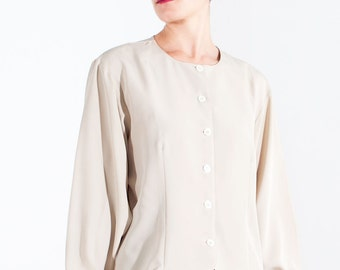 Vintage silk shirt // 80s // M size