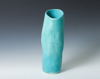 "25% off - 9""  ""Hip Vase"" Matte Turquoise Stoneware Flower Vase /  Hand built - Contemporary unique flower gift - Ceramic Pottery - Modern"