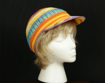 Women Rainbow Crochet hat Summer cap Sun hat Grunge accessory Crochet cap Baseball Hat Beach Cap