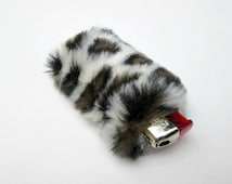 Lighter Case, Fluffy Leopard Lighter Holder, Lighter Cover, Furry Glam Leopard Print, Fuzzy Briquet, Faux Fur