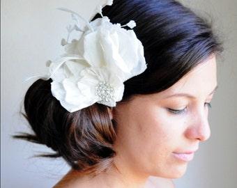 Ivory Bridal Headpiece, Wedding Head Piece, Rhinestone Head Piece, Feather Hair Clip, Flower Clip, Ivory, White Head Piece