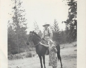 Life Partners - Vintage 1930s Couple and Ranch Horse Photograph