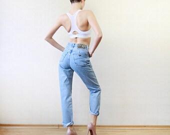 ARMANI Blue denim skinny straight leg high waist jeans pants