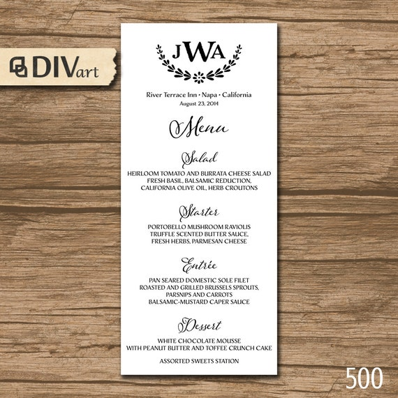 Wedding Menu Rehearsal Dinner Menu Reception Menu By DIVart