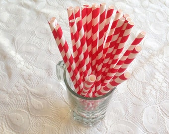 Red Paper Straw Stripe Chevron, Red Party Fancy Straw, favors treat or treat, Baby shower, Girl Birthday, Wedding party, Event , pop sticks