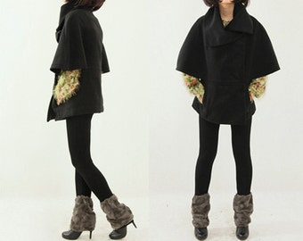 Black Coat Fashion Coat Sexy Coat Suede Coat Chritsmas Coat