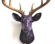 DARK VIOLET- Natural XL Faux Taxidermy Deer Head wall mount in dark violet w/ natural-looking antlers  stag nursery kids room office decor