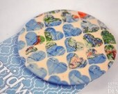 Map Heart Fabric Badge, Large Badge, Pin Badge, Fabric Covered Button