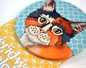 Kitty Cat Fabric Badge, Large Badge, Pin Badge, Fabric Covered Button
