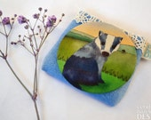 Fabric Badger Pocket Mirror, Cosmetic Mirror, Makeup Mirror, Gifts for Women, Fabric Covered Mirror