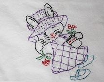 Hand Embroidered Cotton Dish Towel Spring Bunny with Hat Drying Cloth Kitchen Towel Handmade tea dishtowel Vintage Flour Sack Style