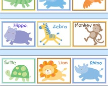 SAFARI WALLPAPER BORDER Wall Decal Baby Girl Jungle Animal Nursery Kids Room Childrens Bedroom Elephant Monkey Turtle Zoo Stickers Art Decor