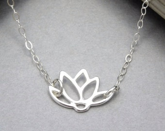 Lotus Necklace, Sterling Silver, Silver Lotus Flower Necklace, Lotus Jewelry, Simple Silver Necklace, Dainty Necklace, Everyday Necklace