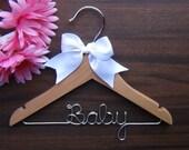 CHILDRENS Personalized HANGER, Custom Baby Shower Gift Hangers, Christening, Flower Girl Wedding Hanger with Name, Kid Clothes Hanger