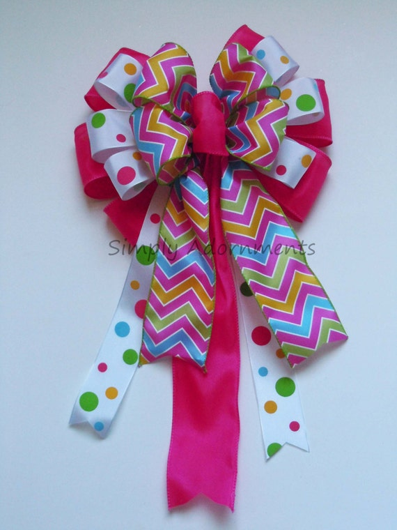 Pink Green Spring Wreath Bow Hot Pink Chevron Polka Dots Wreath Bow Easter Basket Gift Bow Birthday Baby Shower Party Decorations