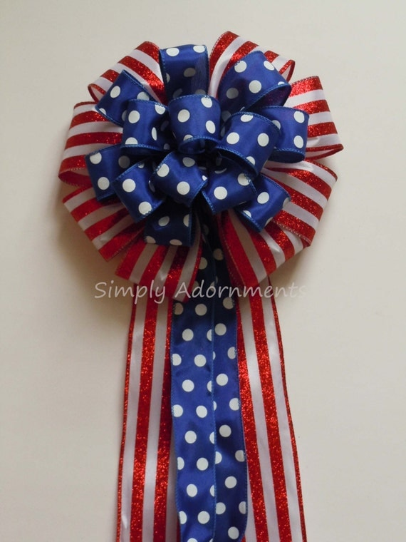 Red White Blue Patriotic Decoration Gifts Bow Americana Christmas Bow Fourth of July Bow Independence Day Bow Election Day Bow Military Bow
