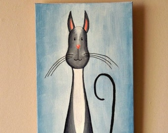 "Original Cat Painting for Sale ""Watchful  Cat"", acrylic"