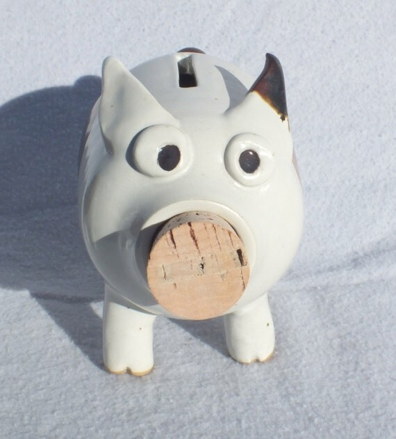 Items similar to handmade ooak art piggy bank with brown for Handmade coin bank