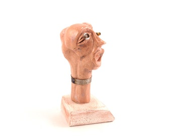 Art sculpture of a Head, Ceramic art doll head, Desk Accessorie, Abstract ceramic, Original ceramic sculpture