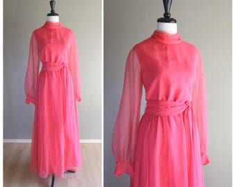 Dark Pink Vintage 1960s Chiffon Full Length Evening Dress / Bow Waist / Poet Sleeves / High Neck